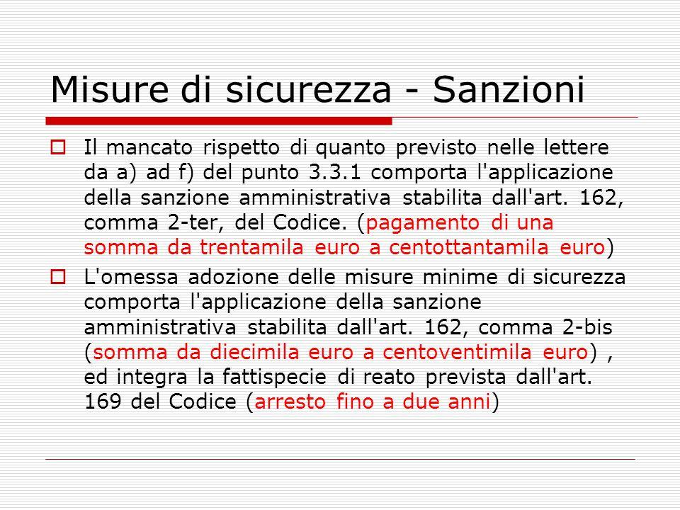 Misure di sicurezza - Sanzioni  Il mancato rispetto di quanto previsto nelle lettere da a) ad f) del punto 3.3.1 comporta l'applicazione della sanzio