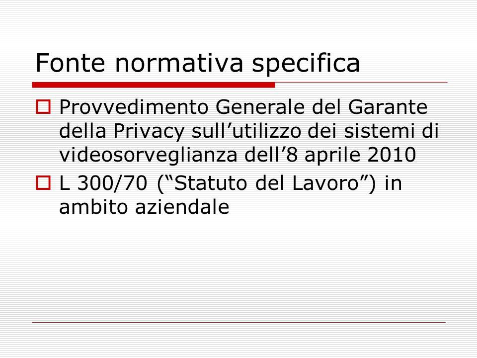 Fonte normativa specifica  Provvedimento Generale del Garante della Privacy sull'utilizzo dei sistemi di videosorveglianza dell'8 aprile 2010  L 300