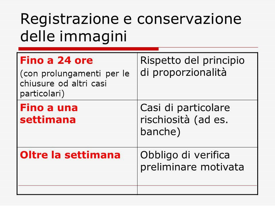 Registrazione e conservazione delle immagini Fino a 24 ore (con prolungamenti per le chiusure od altri casi particolari) Rispetto del principio di pro