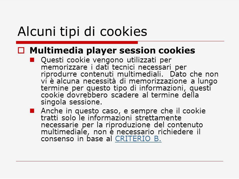 Alcuni tipi di cookies  Multimedia player session cookies Questi cookie vengono utilizzati per memorizzare i dati tecnici necessari per riprodurre co