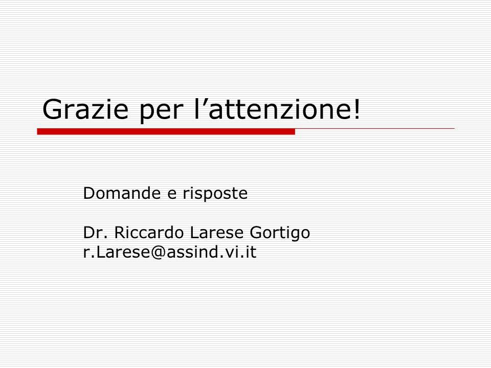 Grazie per l'attenzione! Domande e risposte Dr. Riccardo Larese Gortigo r.Larese@assind.vi.it
