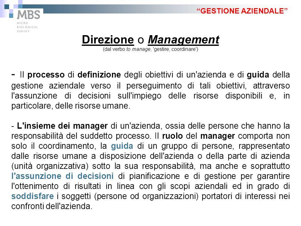 """""""GESTIONE AZIENDALE"""" Direzione o Management (dal verbo to manage, 'gestire, coordinare') - Il processo di definizione degli obiettivi di un'azienda e"""