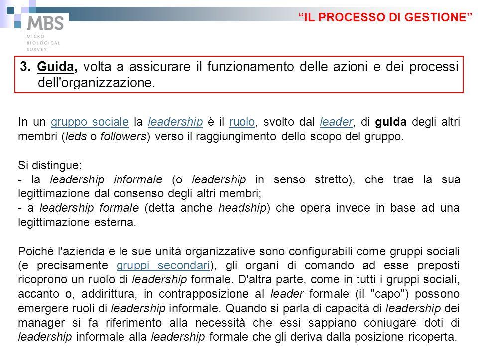 """""""IL PROCESSO DI GESTIONE"""" 3. Guida, volta a assicurare il funzionamento delle azioni e dei processi dell'organizzazione. In un gruppo sociale la leade"""