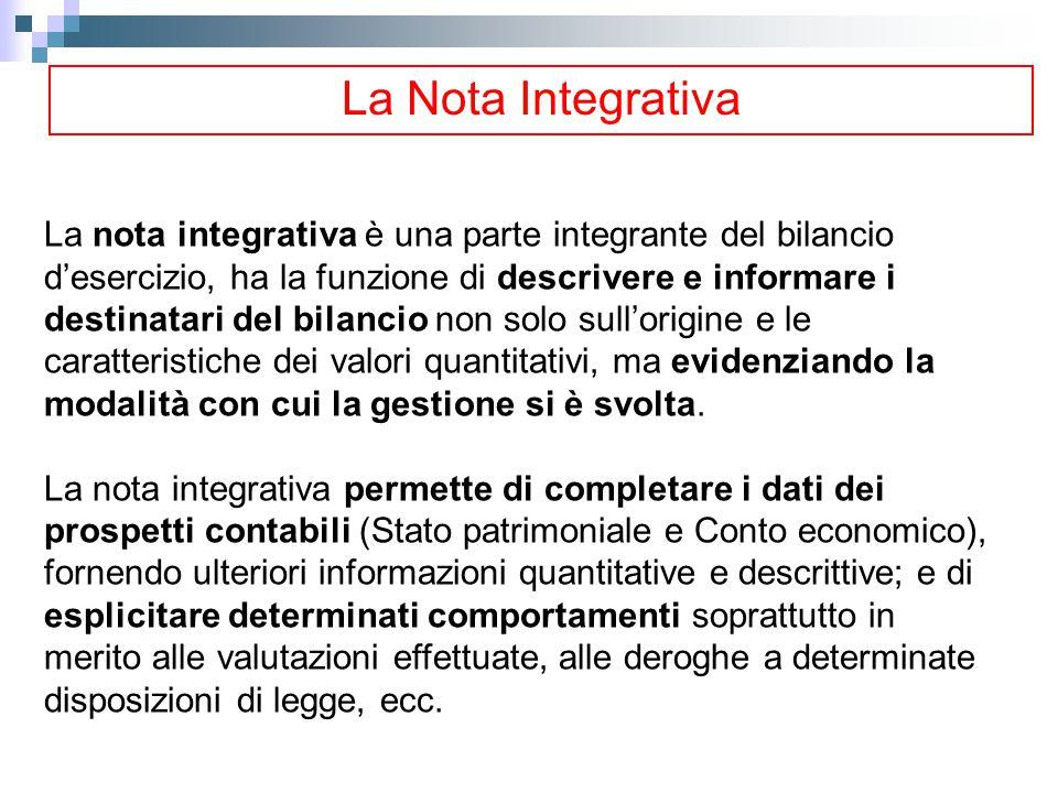 La Nota Integrativa La nota integrativa è una parte integrante del bilancio d'esercizio, ha la funzione di descrivere e informare i destinatari del bi