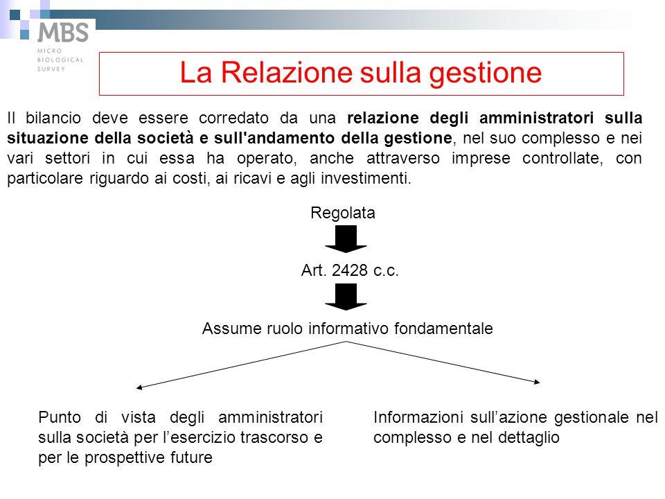 La Relazione sulla gestione Regolata Art. 2428 c.c. Assume ruolo informativo fondamentale Punto di vista degli amministratori sulla società per l'eser