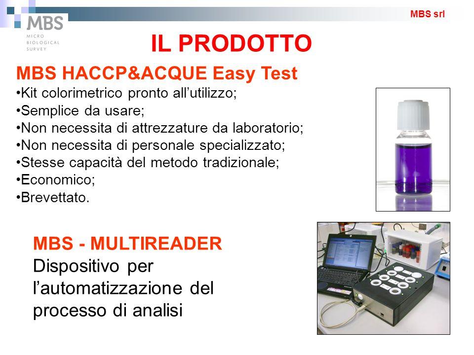 IL PRODOTTO MBS HACCP&ACQUE Easy Test Kit colorimetrico pronto all'utilizzo; Semplice da usare; Non necessita di attrezzature da laboratorio; Non nece