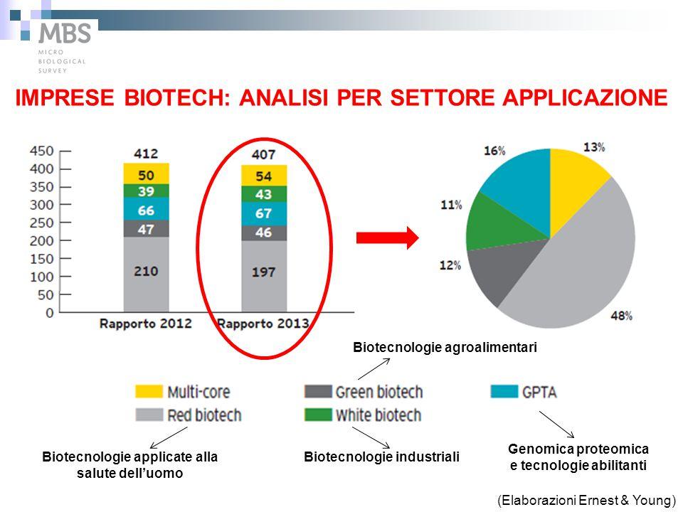 IMPRESE BIOTECH: ANALISI PER SETTORE APPLICAZIONE (Elaborazioni Ernest & Young) Biotecnologie applicate alla salute dell'uomo Biotecnologie industrial