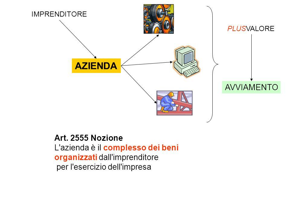Art. 2555 Nozione L'azienda è il complesso dei beni organizzati dall'imprenditore per l'esercizio dell'impresa IMPRENDITORE AZIENDA PLUSVALORE AVVIAME