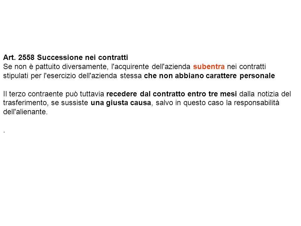 Art. 2558 Successione nei contratti Se non è pattuito diversamente, l'acquirente dell'azienda subentra nei contratti stipulati per l'esercizio dell'az