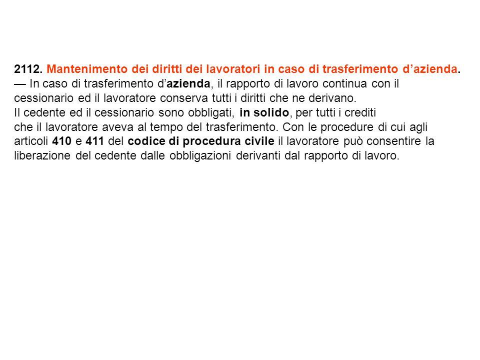 2112.Mantenimento dei diritti dei lavoratori in caso di trasferimento d'azienda.