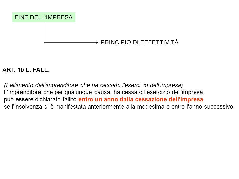 FINE DELL'IMPRESA PRINCIPIO DI EFFETTIVITÀ ART.10 L.