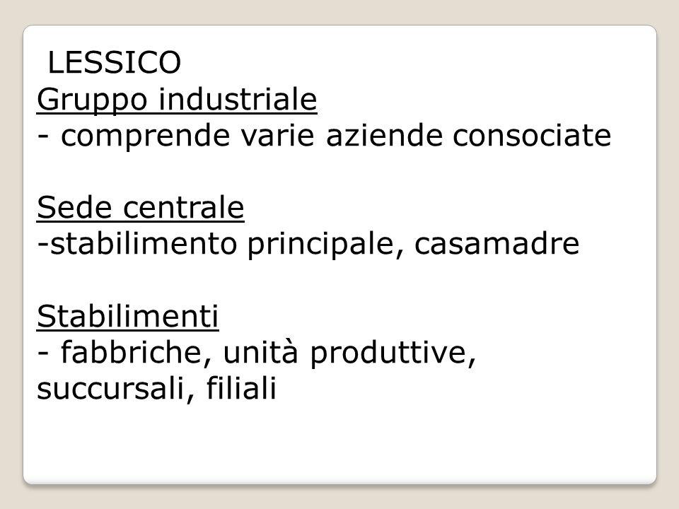 LESSICO Gruppo industriale - comprende varie aziende consociate Sede centrale -stabilimento principale, casamadre Stabilimenti - fabbriche, unità prod