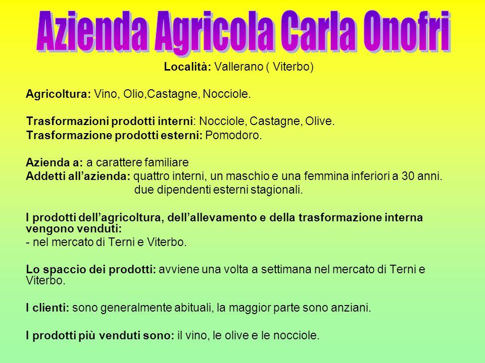 Località: Vallerano ( Viterbo) Agricoltura: Vino, Olio,Castagne, Nocciole. Trasformazioni prodotti interni: Nocciole, Castagne, Olive. Trasformazione