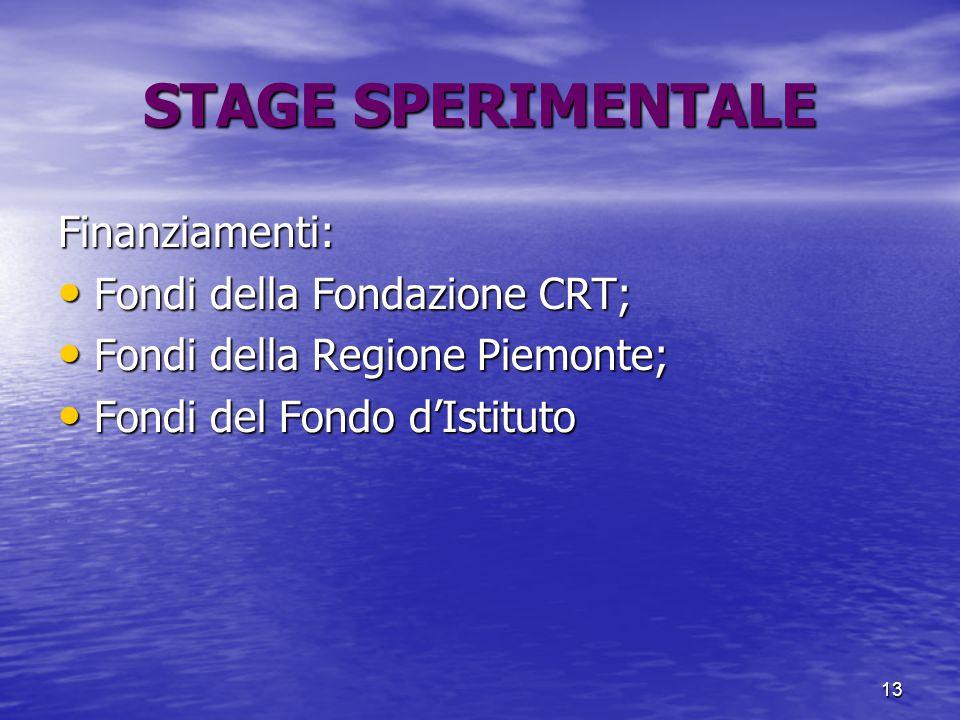 13 STAGE SPERIMENTALE Finanziamenti: Fondi della Fondazione CRT; Fondi della Fondazione CRT; Fondi della Regione Piemonte; Fondi della Regione Piemonte; Fondi del Fondo d'Istituto Fondi del Fondo d'Istituto