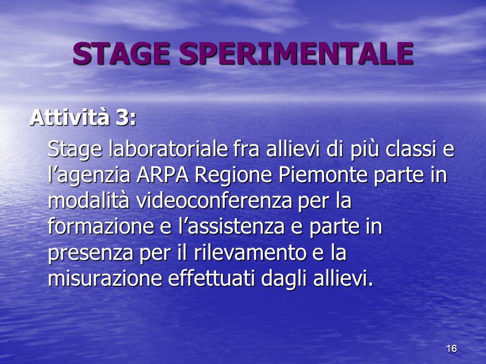 16 STAGE SPERIMENTALE Attività 3: Stage laboratoriale fra allievi di più classi e l'agenzia ARPA Regione Piemonte parte in modalità videoconferenza pe