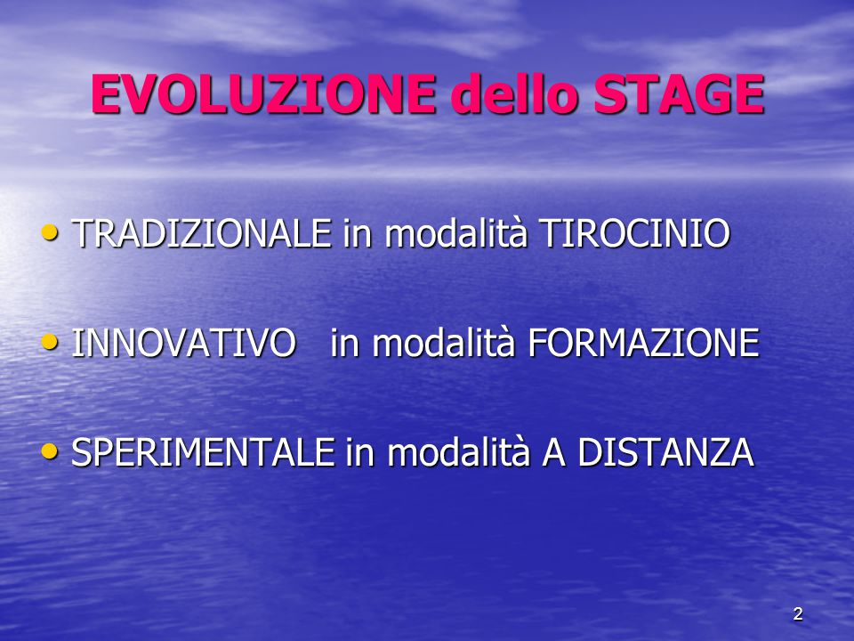 2 EVOLUZIONE dello STAGE TRADIZIONALE in modalità TIROCINIO TRADIZIONALE in modalità TIROCINIO INNOVATIVO in modalità FORMAZIONE INNOVATIVO in modalità FORMAZIONE SPERIMENTALE in modalità A DISTANZA SPERIMENTALE in modalità A DISTANZA