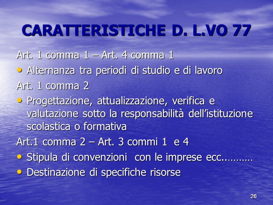 26 CARATTERISTICHE D. L.VO 77 Art. 1 comma 1 – Art. 4 comma 1 Alternanza tra periodi di studio e di lavoro Alternanza tra periodi di studio e di lavor