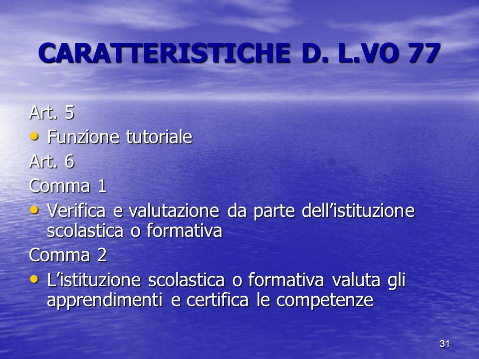 31 CARATTERISTICHE D. L.VO 77 Art. 5 Funzione tutoriale Funzione tutoriale Art. 6 Comma 1 Verifica e valutazione da parte dell'istituzione scolastica