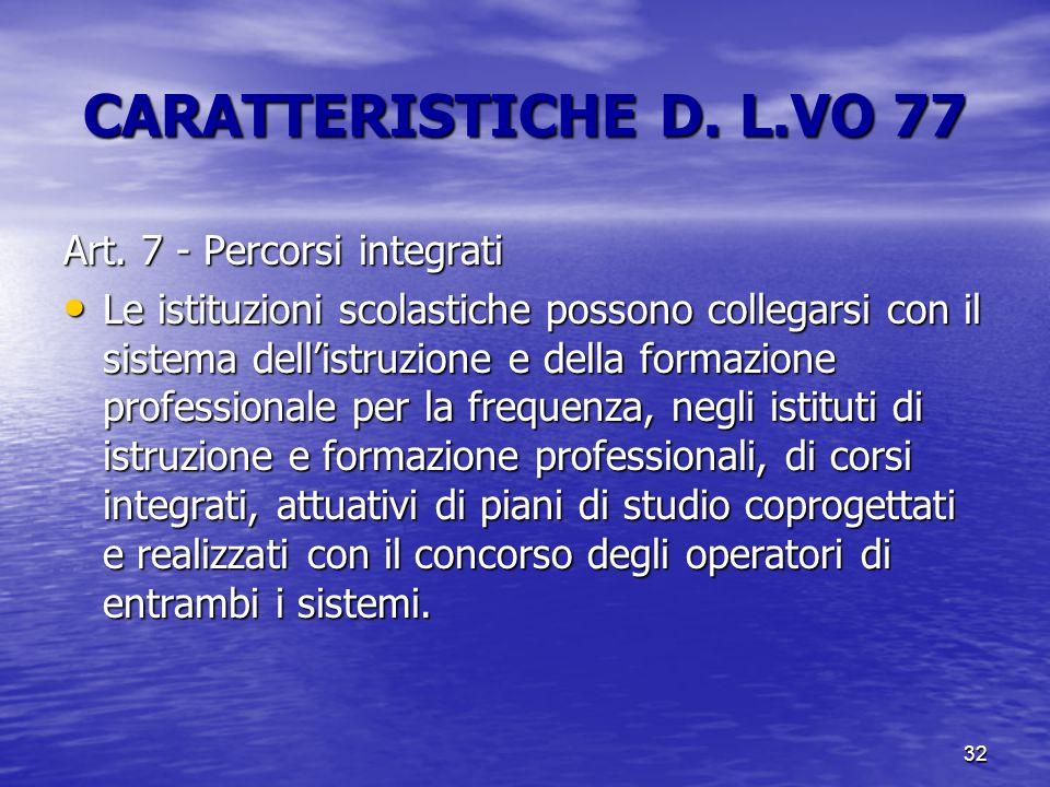 32 CARATTERISTICHE D. L.VO 77 Art. 7 - Percorsi integrati Le istituzioni scolastiche possono collegarsi con il sistema dell'istruzione e della formazi