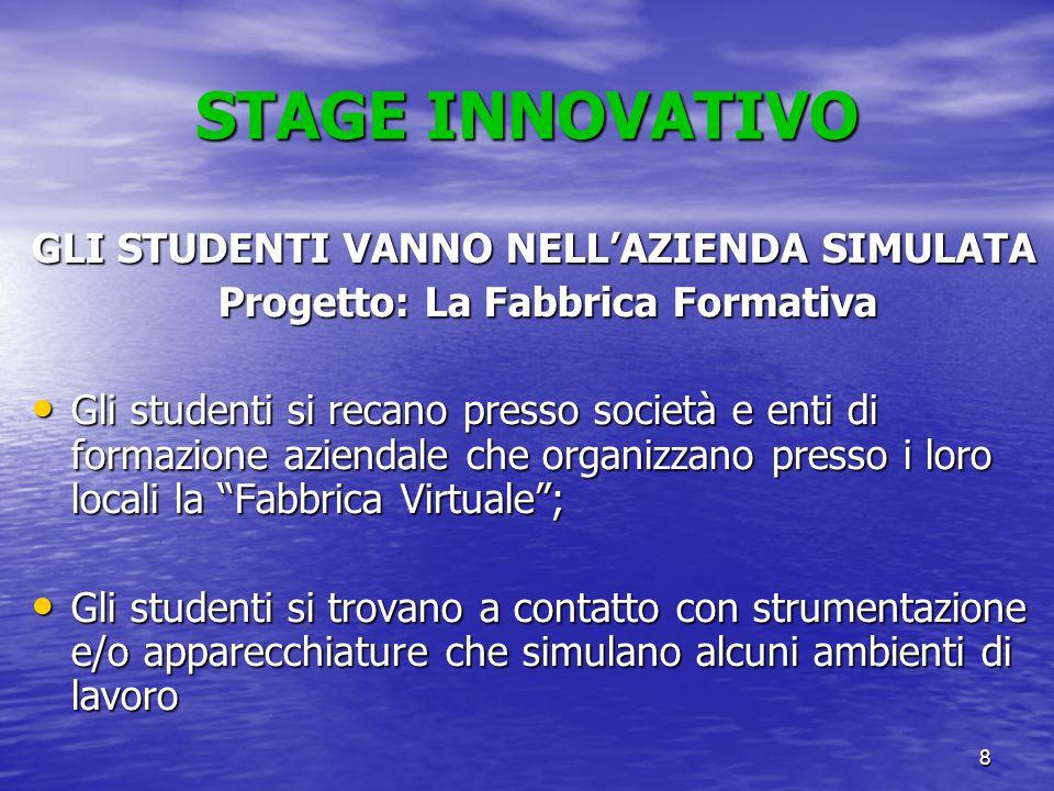 8 STAGE INNOVATIVO GLI STUDENTI VANNO NELL'AZIENDA SIMULATA Progetto: La Fabbrica Formativa Gli studenti si recano presso società e enti di formazione