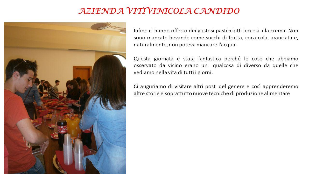 AZIENDA VITIVINICOLA CANDIDO Infine ci hanno offerto dei gustosi pasticciotti leccesi alla crema. Non sono mancate bevande come succhi di frutta, coca