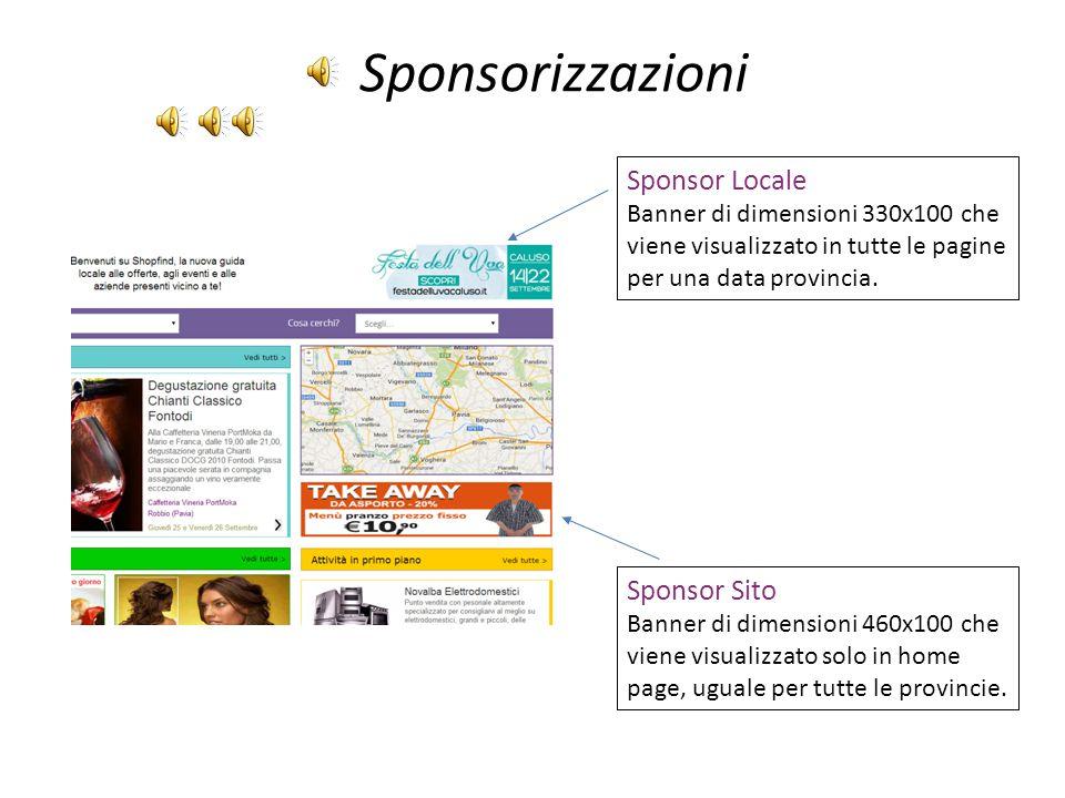 Sponsorizzazioni Sponsor Locale Banner di dimensioni 330x100 che viene visualizzato in tutte le pagine per una data provincia.