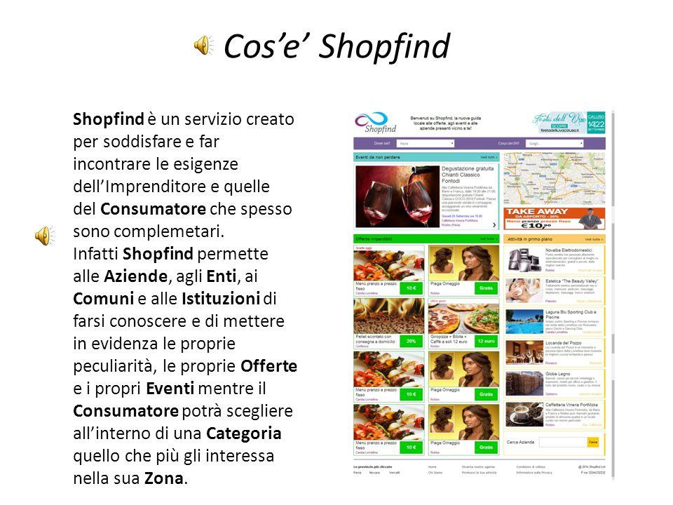 Cosa propone Gli utenti di Shopfind potranno vedere in ogni momento quali sono gli eventi e le offerte disponibili presso i negozi e i locali nelle vicinanze e consultando le pagine delle aziende potranno scegliere le occasioni migliori divise per categorie e per zone.