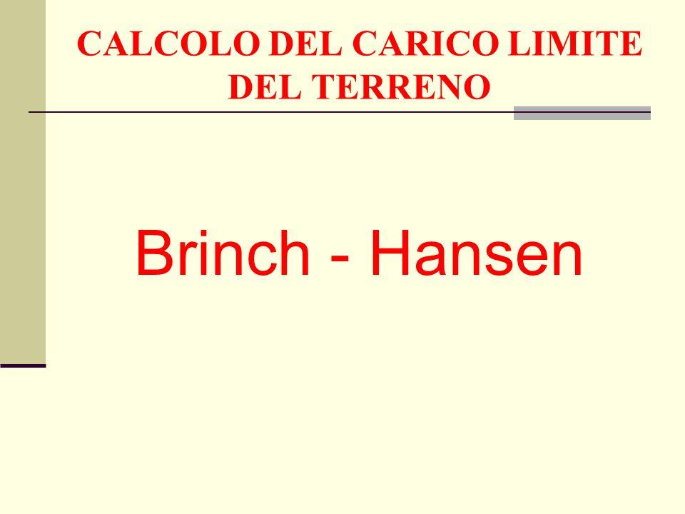 CALCOLO DEL CARICO LIMITE DEL TERRENO Brinch - Hansen