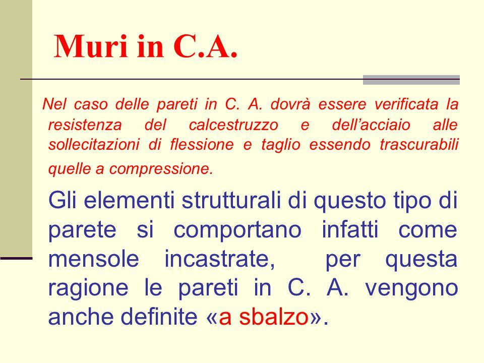 Muri in C.A. Nel caso delle pareti in C. A. dovrà essere verificata la resistenza del calcestruzzo e dell'acciaio alle sollecitazioni di flessione e t