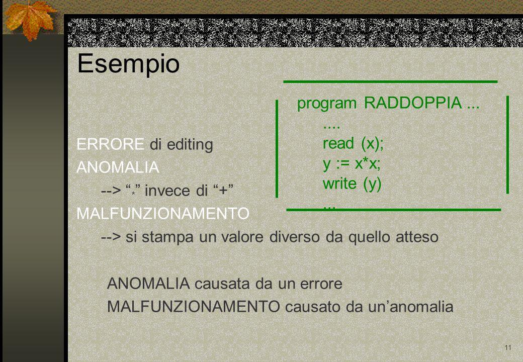10 Terminologia ERRORE la causa di un malfunzionamento, p.es.