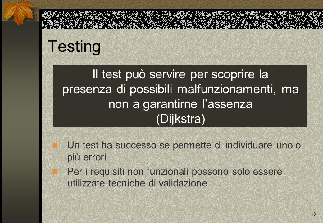 12 Obiettivo per un test Obiettivo finale: scoprire le anomalie e correggere l'errore che le ha causate Obiettivo del testing: Individuare tecniche empiriche per aumentare la probabilità che una anomalia causi un malfunzionamento