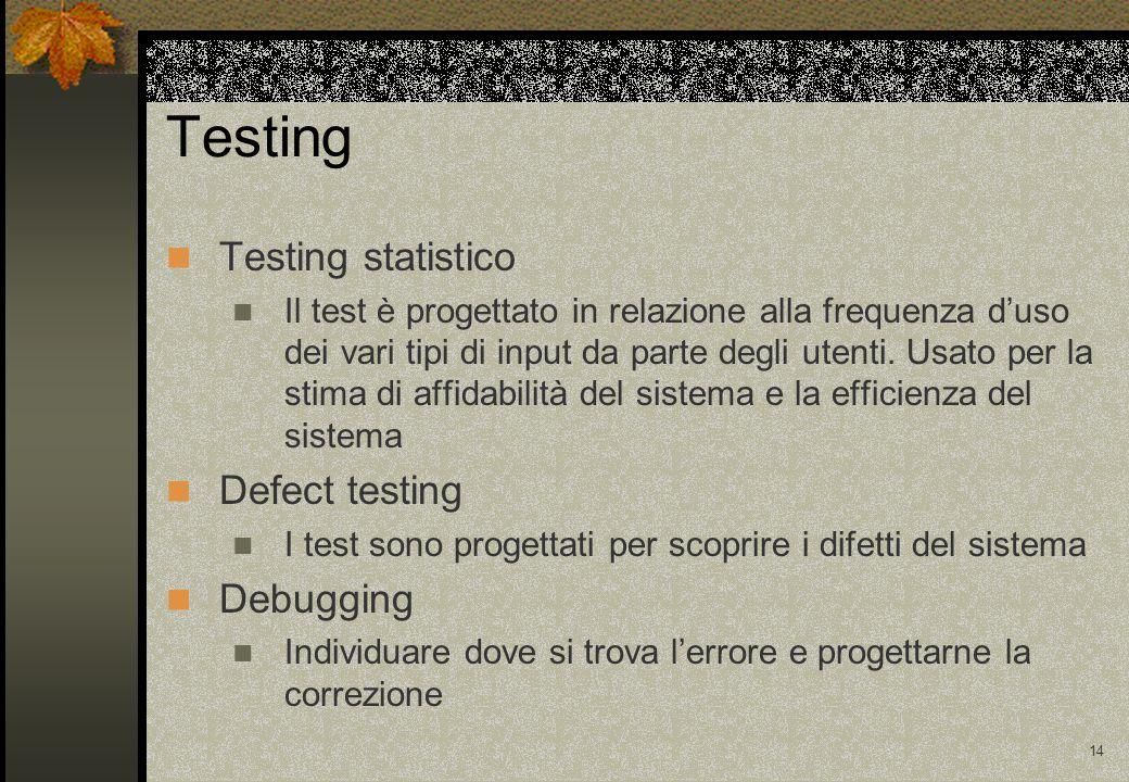 13 Un test ha successo se permette di individuare uno o più errori Per i requisiti non funzionali possono solo essere utilizzate tecniche di validazione Testing Il test può servire per scoprire la presenza di possibili malfunzionamenti, ma non a garantirne l'assenza (Dijkstra)