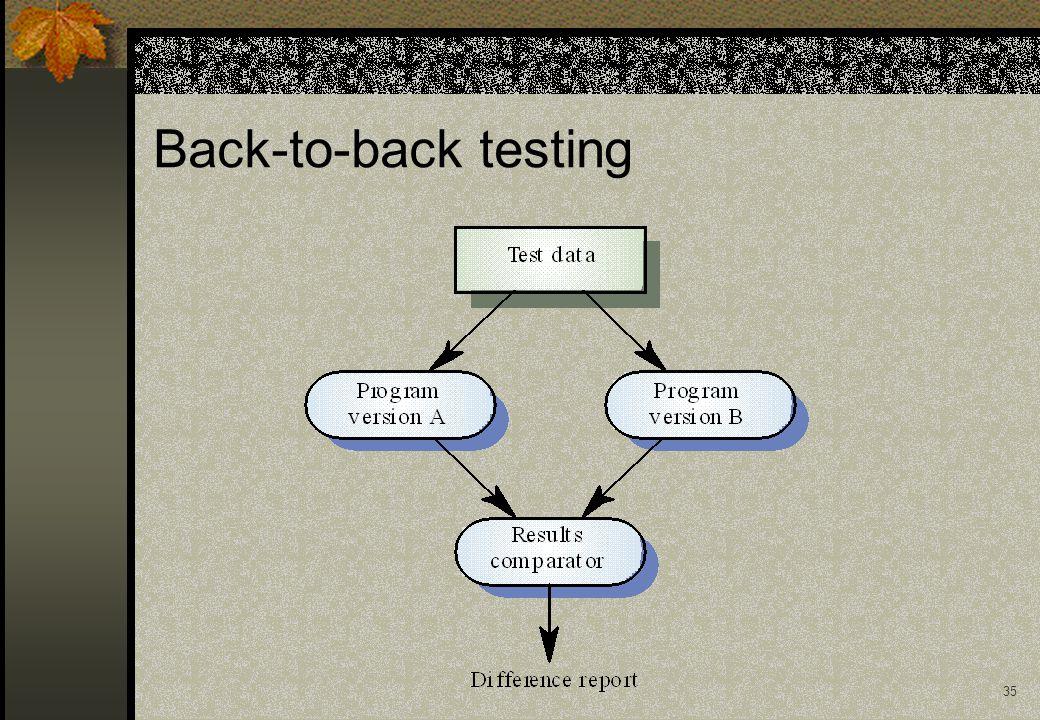 34 Back-to-back testing Testa diverse versioni del programma con lo stesso input, e confronta gli output.