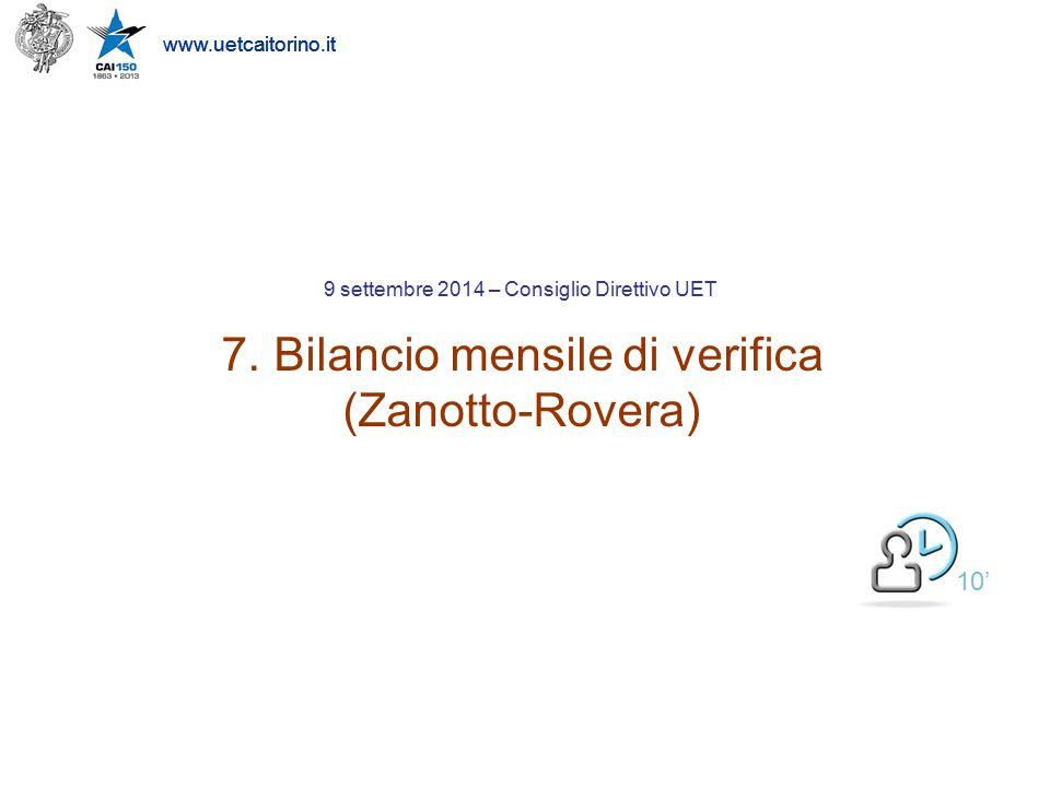 www.uetcaitorino.it Bilancio Mensile di Verifica di SETTEMBRE