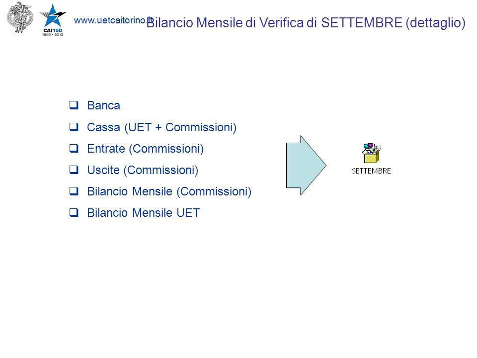 www.uetcaitorino.it  SUPPORTO riconciliazione Banca/Cassa (registrazioni patrimoniali)  ESECUZIONE Audit 2014  PIANIFICAZIONE Redazione Bilancio 2014 (4° quarter) Programmazione