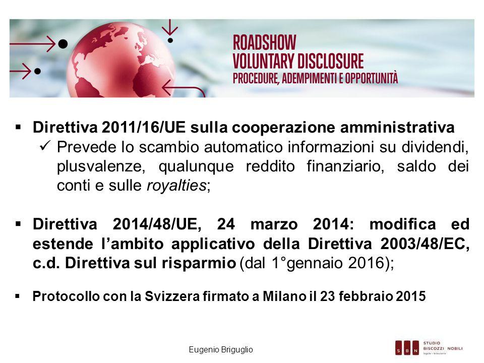 Eugenio Briguglio  Direttiva 2011/16/UE sulla cooperazione amministrativa Prevede lo scambio automatico informazioni su dividendi, plusvalenze, qualu