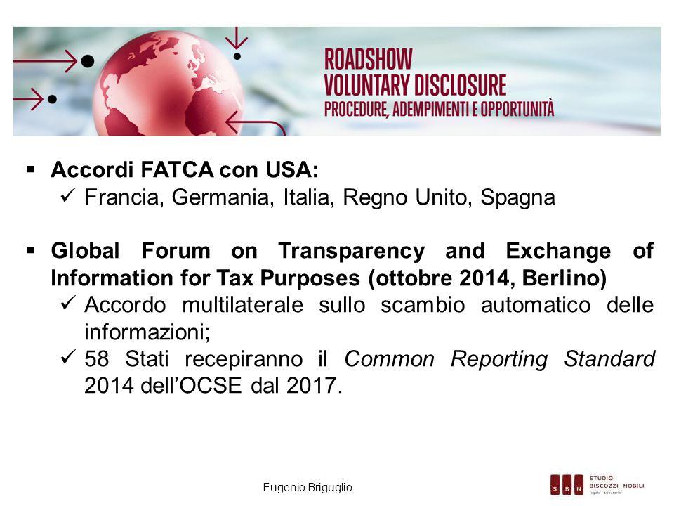 Eugenio Briguglio  Accordi FATCA con USA: Francia, Germania, Italia, Regno Unito, Spagna  Global Forum on Transparency and Exchange of Information f