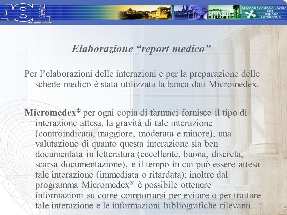 Per l'elaborazioni delle interazioni e per la preparazione delle schede medico è stata utilizzata la banca dati Micromedex. Micromedex ® per ogni copi