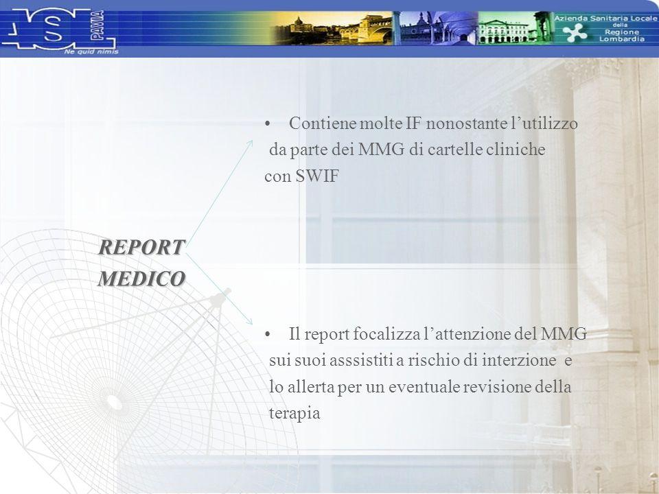 Contiene molte IF nonostante l'utilizzo da parte dei MMG di cartelle cliniche con SWIF Il report focalizza l'attenzione del MMG sui suoi asssistiti a