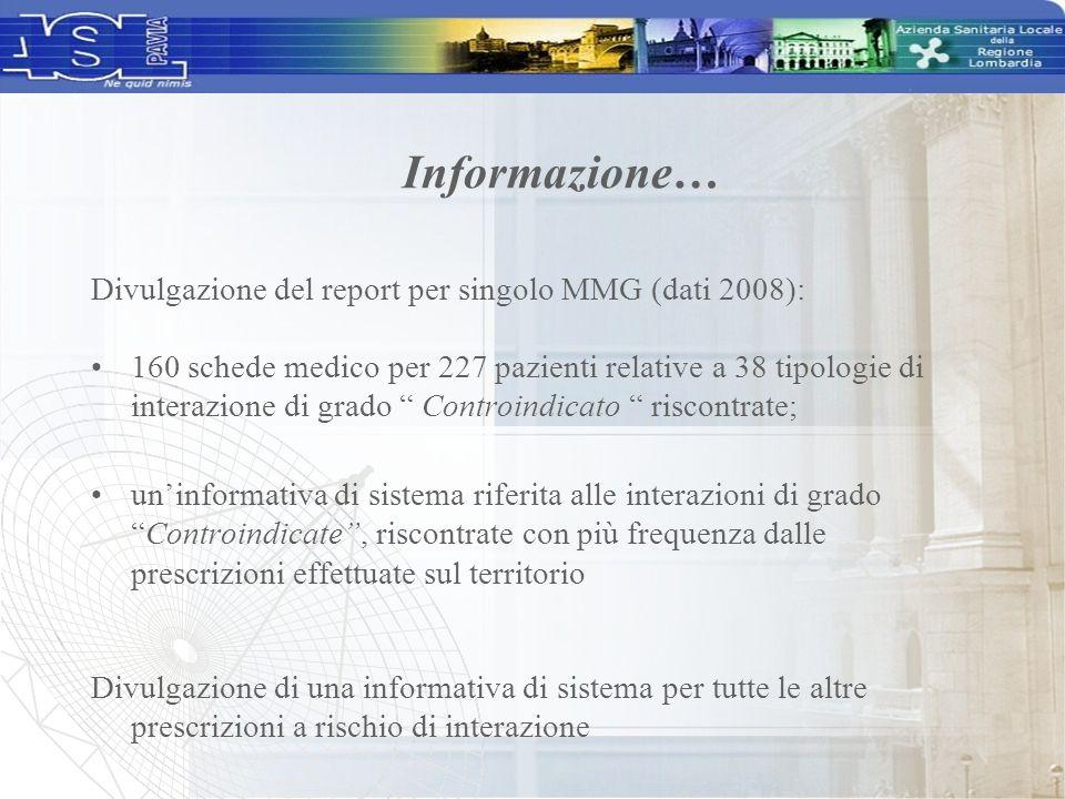 """Divulgazione del report per singolo MMG (dati 2008): 160 schede medico per 227 pazienti relative a 38 tipologie di interazione di grado """" Controindica"""