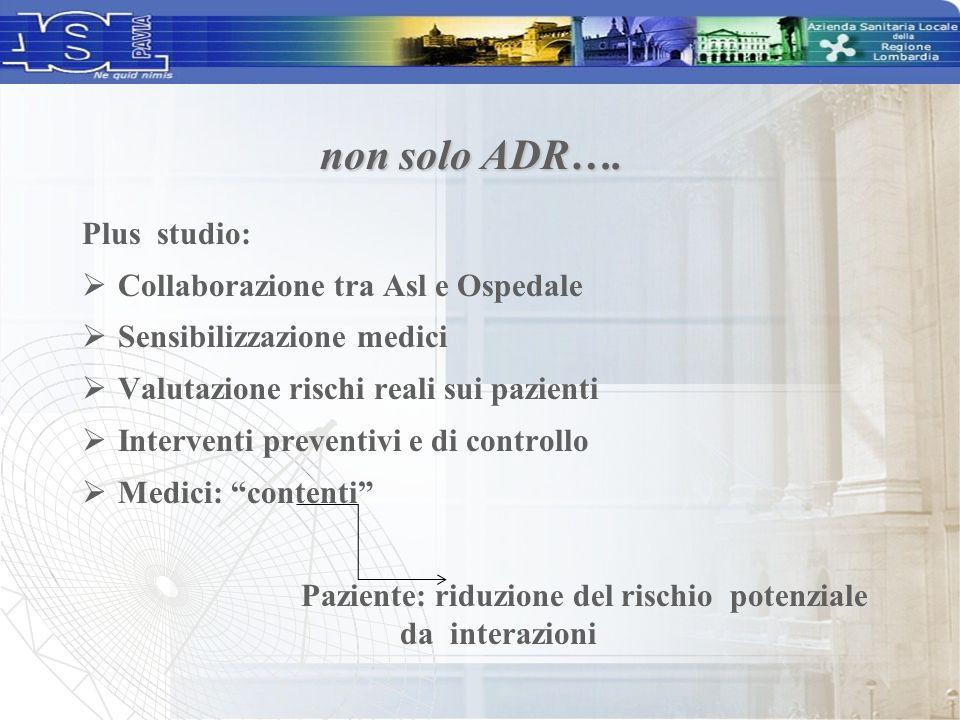 Plus studio:  Collaborazione tra Asl e Ospedale  Sensibilizzazione medici  Valutazione rischi reali sui pazienti  Interventi preventivi e di contr