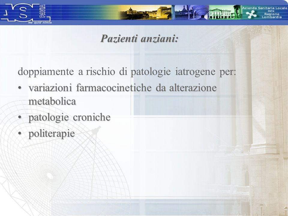 Pazienti anziani: doppiamente a rischio di patologie iatrogene per: variazioni farmacocinetiche da alterazione metabolicavariazioni farmacocinetiche d