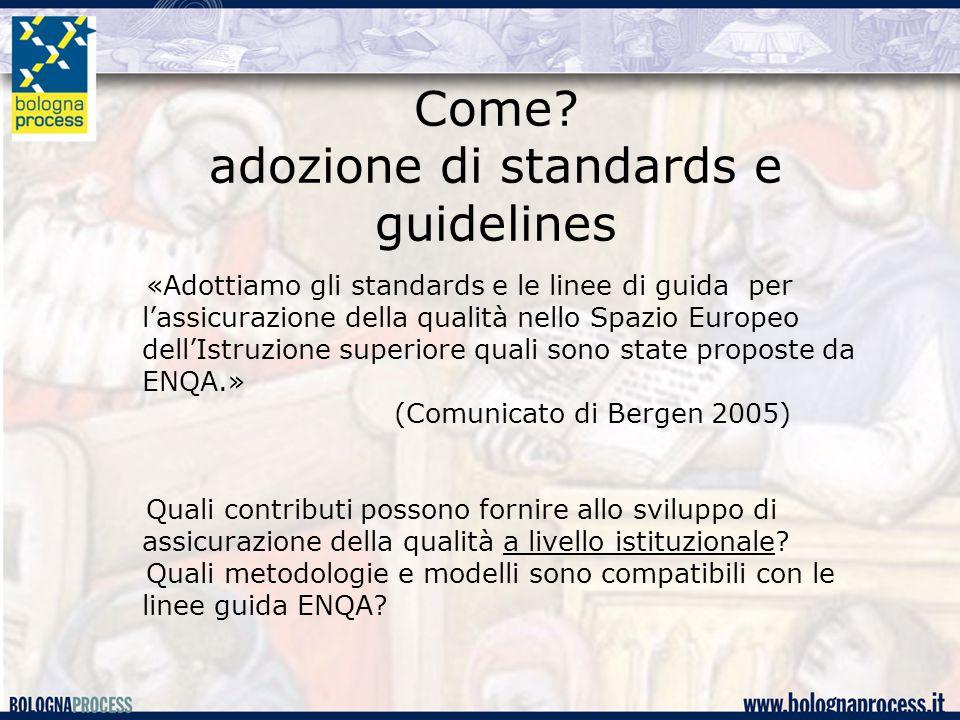 Come? adozione di standards e guidelines «Adottiamo gli standards e le linee di guida per l'assicurazione della qualità nello Spazio Europeo dell'Istr
