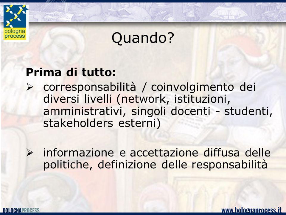 Quando? Prima di tutto:  corresponsabilità / coinvolgimento dei diversi livelli (network, istituzioni, amministrativi, singoli docenti - studenti, st