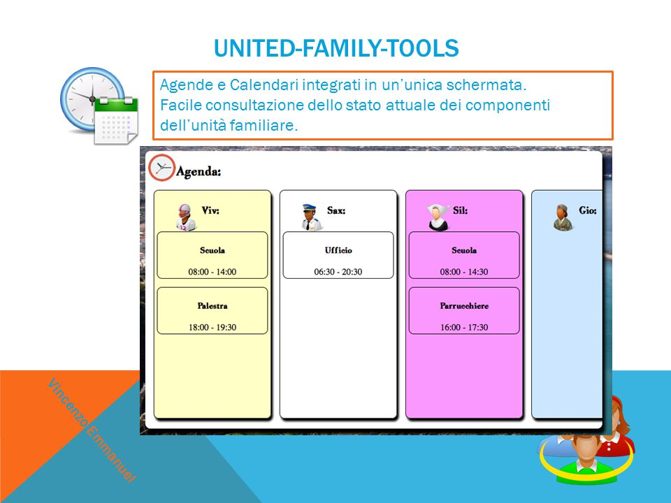 UNITED-FAMILY-TOOLS Agende e Calendari integrati in un'unica schermata.