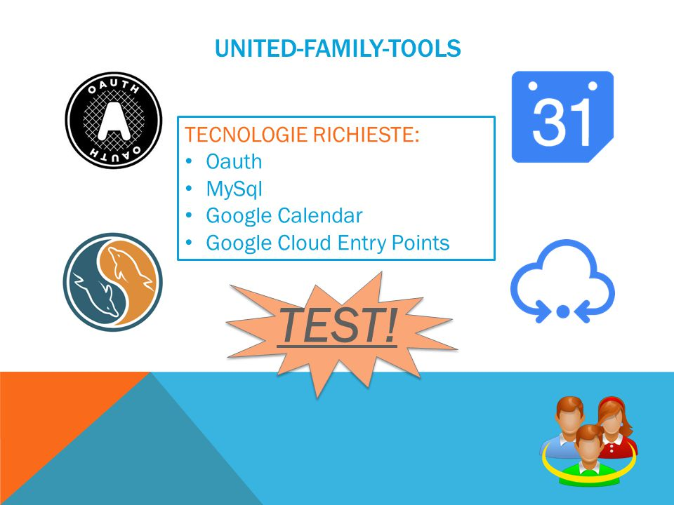 UNITED-FAMILY-TOOLS TECNOLOGIE RICHIESTE: Oauth MySql Google Calendar Google Cloud Entry Points TEST!