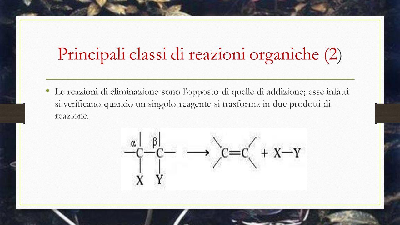 Principali classi di reazioni organiche (2) Le reazioni di eliminazione sono l'opposto di quelle di addizione; esse infatti si verificano quando un si