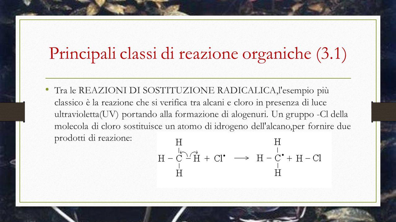 Principali classi di reazione organiche (3.1) Tra le REAZIONI DI SOSTITUZIONE RADICALICA,l'esempio più classico è la reazione che si verifica tra alca