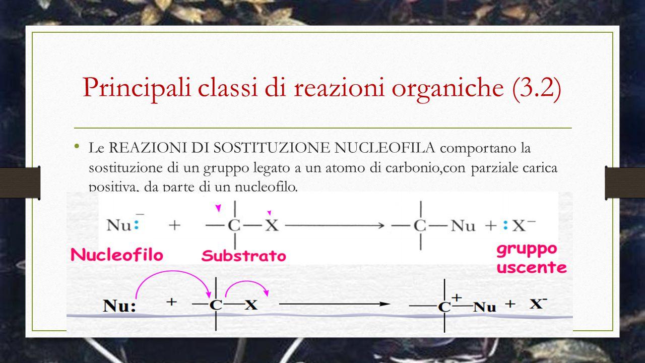 Principali classi di reazioni organiche (3.2) Le REAZIONI DI SOSTITUZIONE NUCLEOFILA comportano la sostituzione di un gruppo legato a un atomo di carb