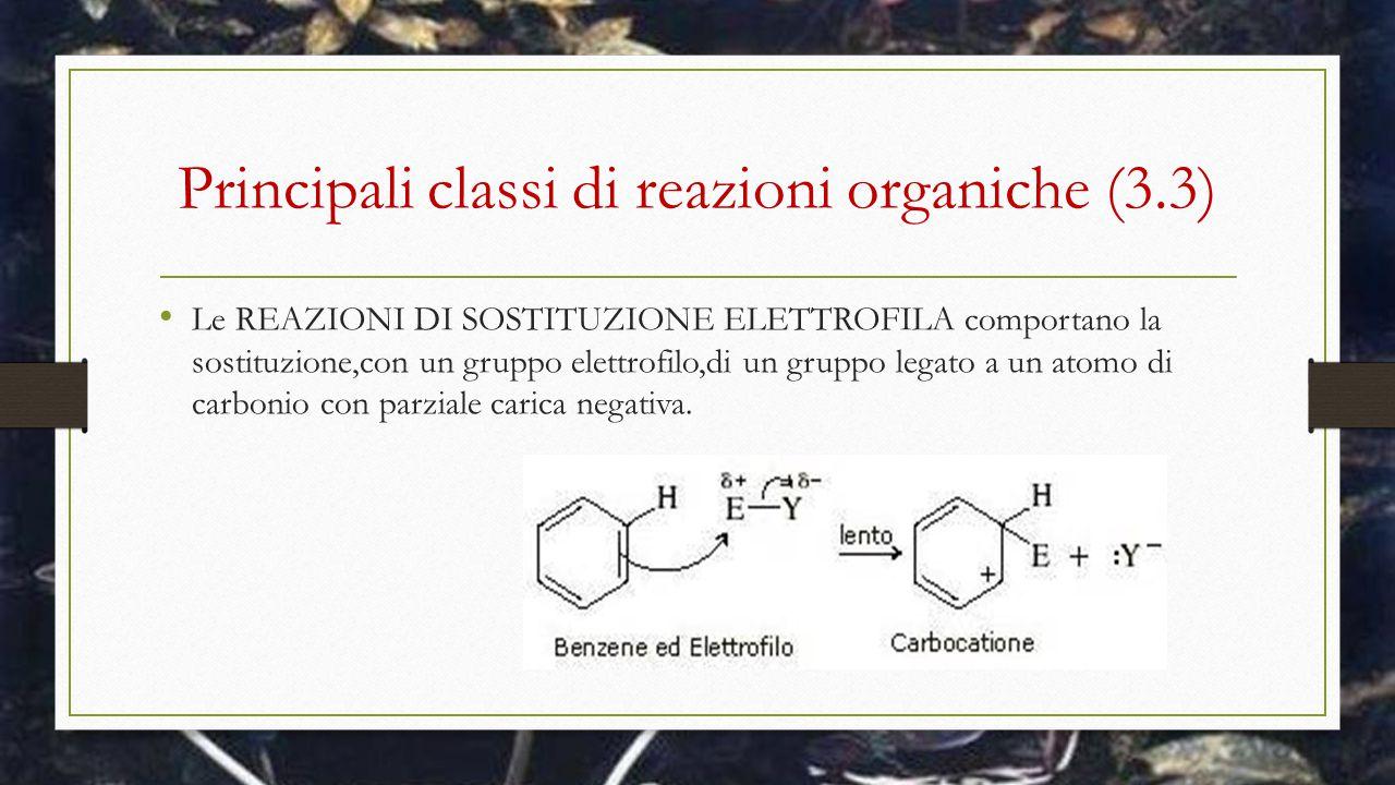 Principali classi di reazioni organiche (3.3) Le REAZIONI DI SOSTITUZIONE ELETTROFILA comportano la sostituzione,con un gruppo elettrofilo,di un grupp
